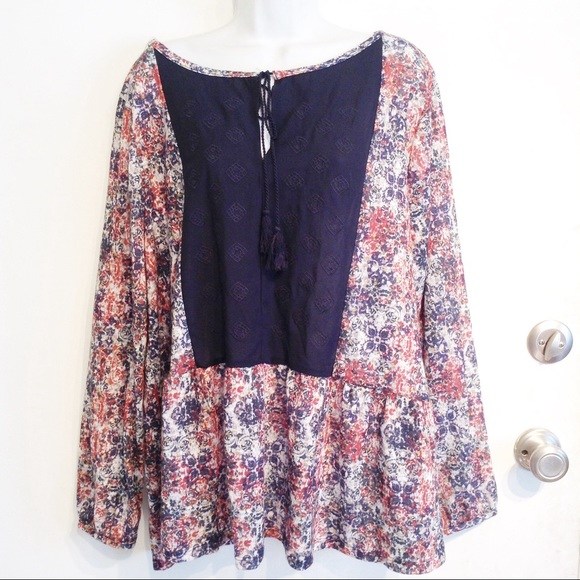 60f9d14ceadd9 Dept 222 Tops - Dept 222 Plus Size Embroidered Peasant Peplum Top
